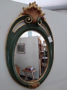 Art Pm98 Cornice Ovale In Legno Intagliata E Dipinta Con Specchio